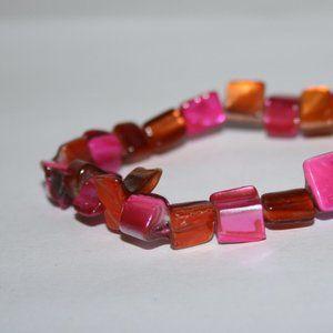 Hot pink and orange shell bracelet